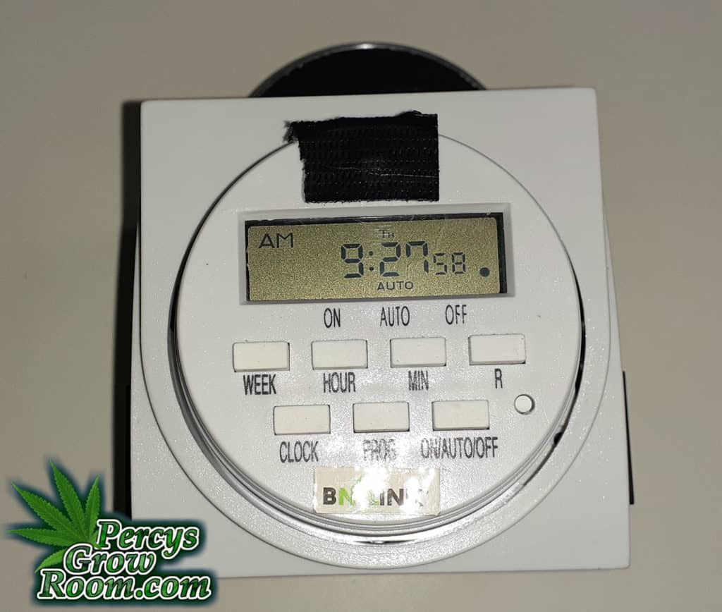 This pic shows the Digital timer used to control pump run intervals and days of operation for the DIY Auto Watering System