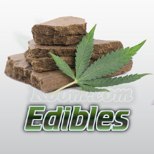a picture of brownies and a cannabis leaf, cannabis edibles, percys grow room,