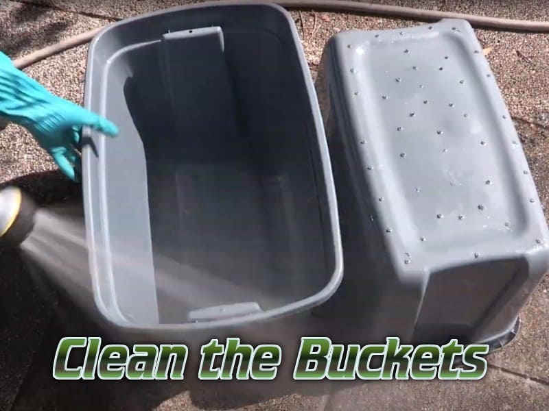 clean the buckets, 2 grey buckets being cleaned percys grow room, cannabis growers forum