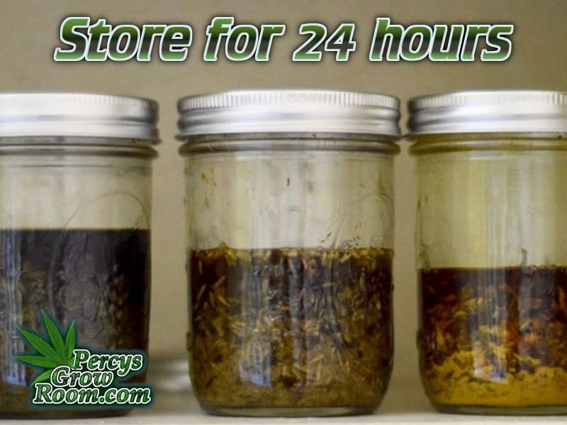 Jars of cannabis soaking in alcohol, in a cupboard, make FECO oil, Percys Grow room